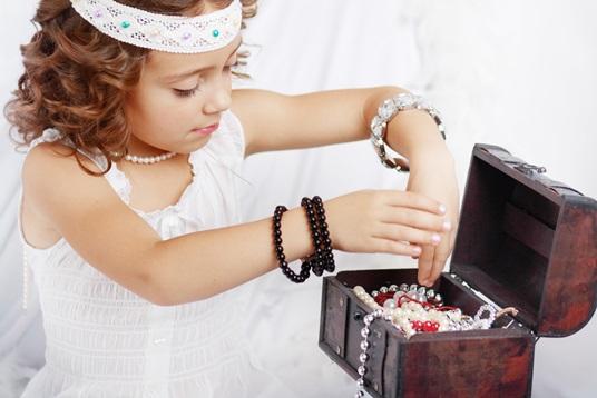 beautiful little girl plays