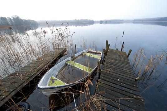 Misty november morning at lake
