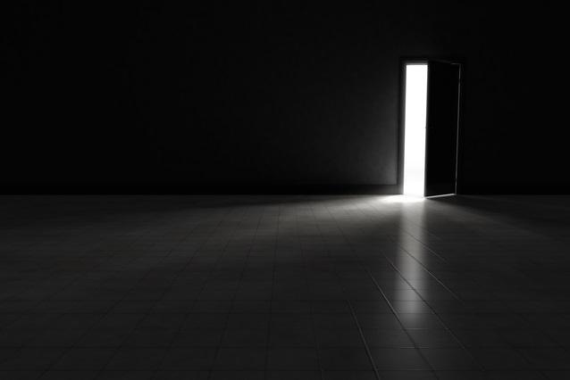 Open door to dark room with bright light shining in.  Background Illustration.